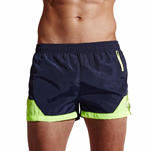 Perman Men Summer Surfing Running Swimming Boxing Quick Dry Swim Trunks Short Shorts with Zipper Pocket