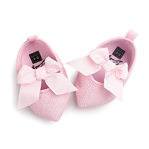 ESTAMICO Baby Mädchen Pointed-Toe Mary Jane Schleife Crib Shoes Rose