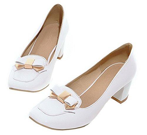 Allhqfashion Mujer-closed Toe-kitten-heels Charol Solid Pumps-Zapatos White