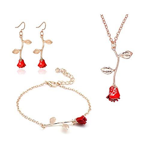 MUZHE Charm 3D Red Rose Flower Pendant Necklace, Romantic Rose Flower Necklace for Women, Personalized Red Rose Statement Necklace for Girls, Gardeners Necklace (J:Rose Gold Set)