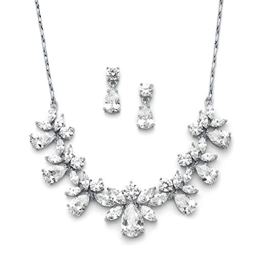Mariell Multi-Shaped Pear and Marquise Cubic Zirconia Necklace Earring Wedding Jewelry Set for Brides ()