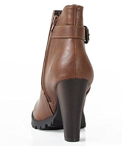 Bootie Magic Soda Tan Heel Leatherette Women's Chunky Brown Boots Chelsea Ankle g07q04x