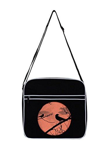 Umhängetasche Krähe Silhouette schwarz 31x33cm