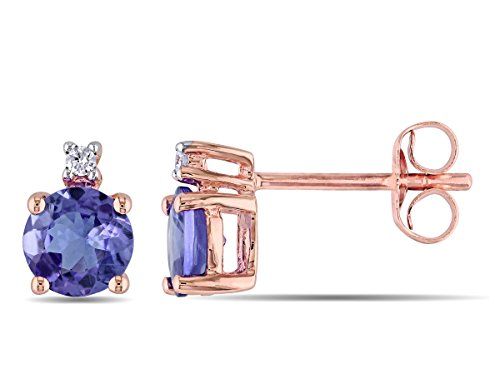 Ctw Diamond Tanzanite Gold Jewelry - 1.00 Carat (ctw) Solitaire Stud Tanzanite Earrings in 10K Rose Pink Gold with Accent Diamonds