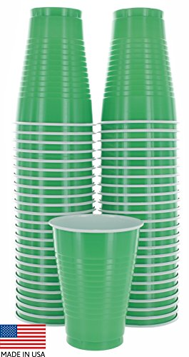 Amcrate Green Colored 12-Ounce Disposable Plastic Party Cups - Ideal for Weddings, Party?s, Birthdays, Dinners, Lunch?s. (Pack of 50)