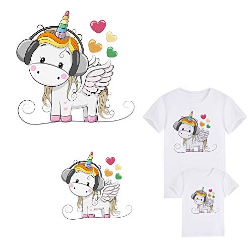 Unicorn Iron On Patches Thermal Transfer Stickers Decoration Appliques with Cute Unicorns Animals Eco-Friendly Materials for Family Dress,Women,Kids,Child T-Shirt(2 PCS)