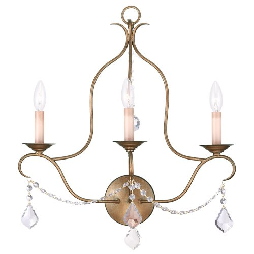 Livex Lighting 6433-48 Chesterfield 3 Light Wall Sconce, Antique Gold Leaf