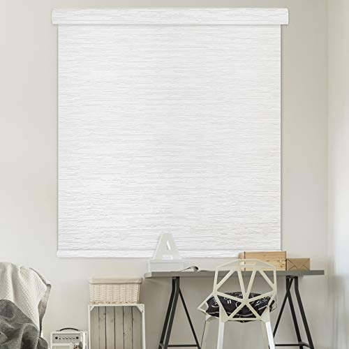 Godear Design Modern Free Stop Cordless Roller Shade with Cassette Valance, 46″ x 72″, 100% Blackout Fabric, Snow