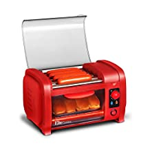 Elite Cuisine EHD-051R Maxi-Matic Hot Dog Toaster Oven Machine Cooker with grill rollers, Red