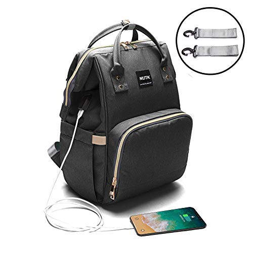 Baby Diaper Bag Backpack,NUTK Multi-Function Waterproof Nappy Bags,Large Capacity, Durable and Stylish Travel Backpack with USB Charging Port for Mom Dad Men,Black