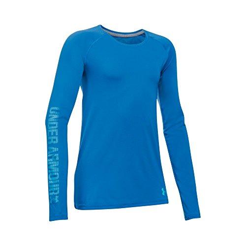 Under Armour Girls' Armour Heatgear Long Sleeve T-Shirt, Mediterranean, Youth Medium