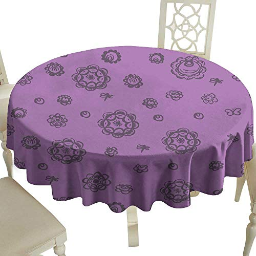 (Fabric Dust-Proof Table Cover seamless pattern folk art floral ornament Vintage elegant wedding invitation with summer ethnic flowers Rough brush strokes purple violet gray background Vector for Kitc)