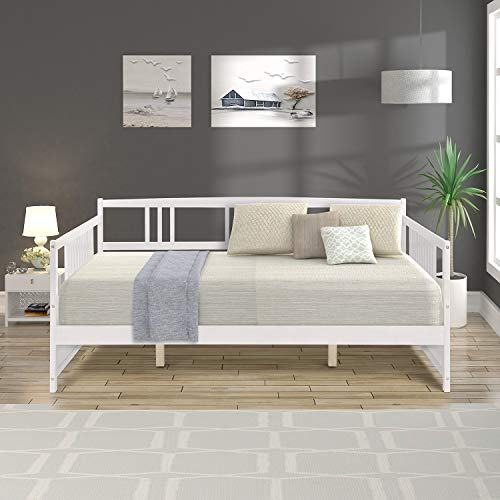 Wood Daybed Frame Full Size with Rails, Full Wooden Slats Support Modern Daybed Full (White)