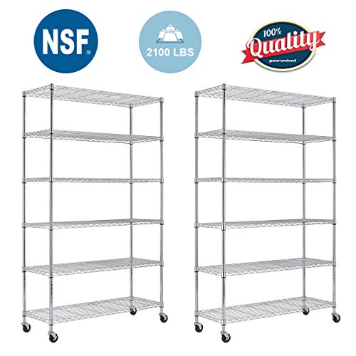 - FDW 82 x48 x18 inch 6 Tier Layer Shelf Adjustable Wire Metal Shelving Rack Chrome (2)