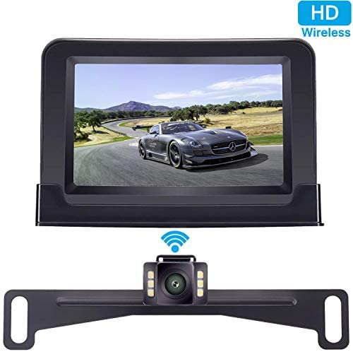 ZSMJ Wireless Backup Camera and 4.3 Monitor Kit, HD Color, Suitable for Cars,SUVs,Minivans,Pickups IP69 Waterproof Rear Front View Camera Guide Lines On Off Reversing Use