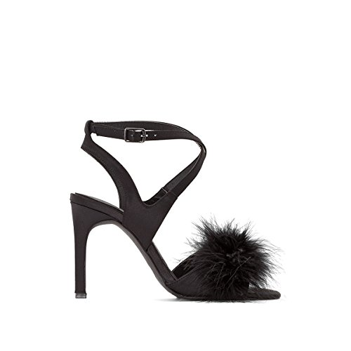 La Redoute Womens High Heel Sandals with Faux Fur Detail Black