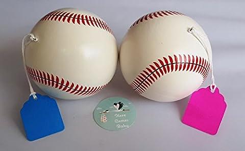 2 Premium Gender Reveal Exploding Baseballs, Maximum Powder, Ceramic - 1 Team Pink (Girl) and 1 Team Blue (Boy) - Here Comes (Exploding Smoke Bombs)