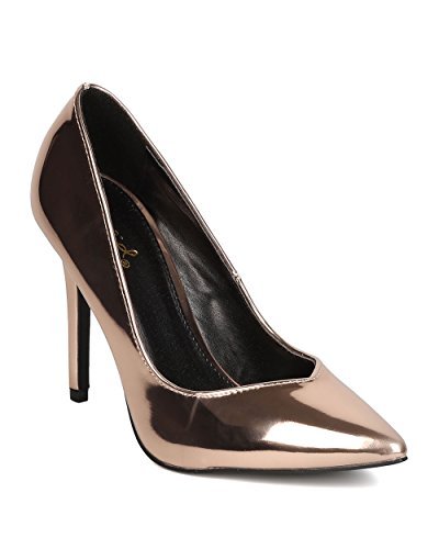 Qupid GB85 Women Metallic Leatherette Stiletto Heel - Formal, Wedding, Party - Mirror Metallic Pumpl - By Qupid - Rose Gold (Size: 7.5) (Qupid Pumps)