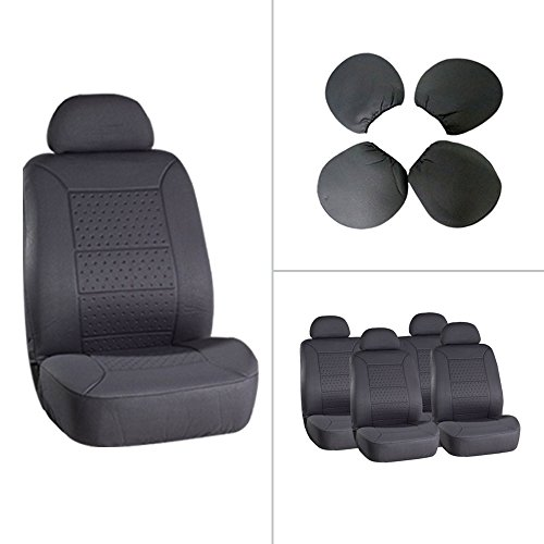SCITOO Universal 5MM Padding Soft Gray Car Seat Cover w/Headrest 8Pcs Breathable Embossed Cloth Retractable