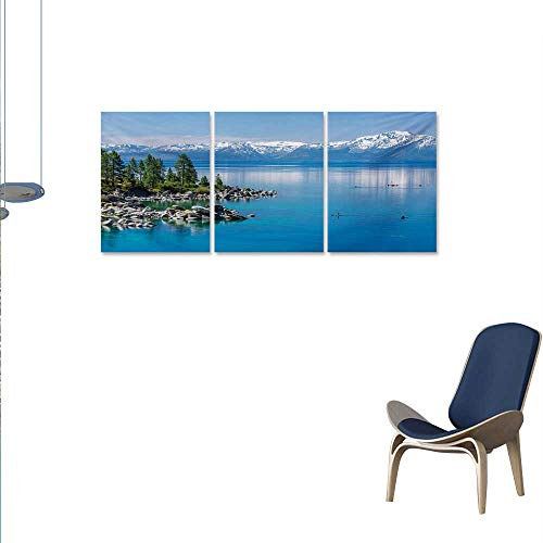 nvas Wall Art Blue Waters of Lake Tahoe Snowy Mountains Pine Trees Rocks Relax Shore Print Paintings for Home Wall Office Decor 16