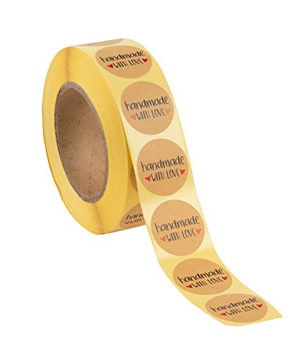 Handmade Stickers Label - 1000-Piece Handmade with Love Stickers, Handmade Stickers Roll, Kraft Stickers for Gifts, Crafts, DIY Projects, Envelope Sealing, Brown, 1.5 x 1.5 inches