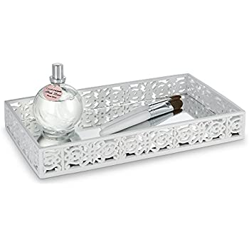 "Amazon.com: Quilted Mirror Vanity Tray, (10.1"" x 6.1"" x 0.9 ..."