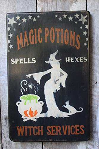 VinMea Halloween Wood Sign Magic Potions Spells Hexes Witch Services Wood Sign Halloween Decor 8