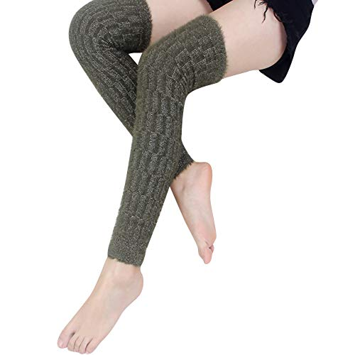PASATO Womens Winter Leg Warmers Cable Knit Knitted Silver Wire Sock Legging Sexy Lace Long Soild High Knee Socks(Army Green,free size) -