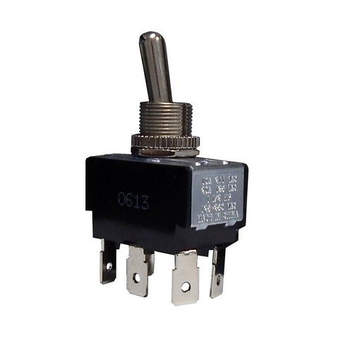"Morris Products Momentary Contact Toggle Switch - Heavy Duty, DPDT (On)-Off-(On) 6 Quick Connect Spade Terminals - 100,000 Mechanical Life Cycles - CURus Listed - 1.30"" x .76"" x .86"""
