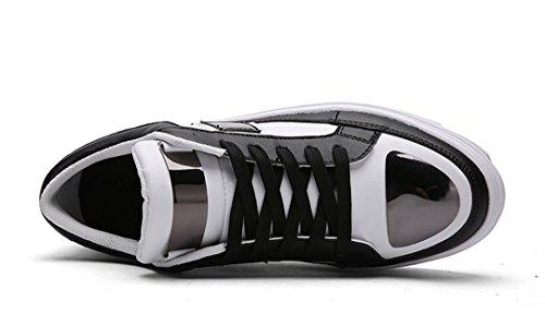 Tda Mens Mode Spets Upp Läder Slitstark Halkfria Sport Skateboard Skor Svart / Vit