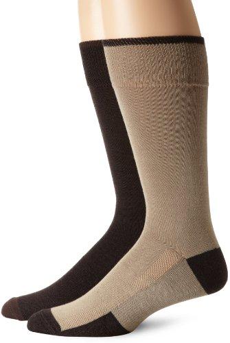 Bass Men's Flat Knit Dress And Casual Socks, Brown Marl/Khaki Marl, Large