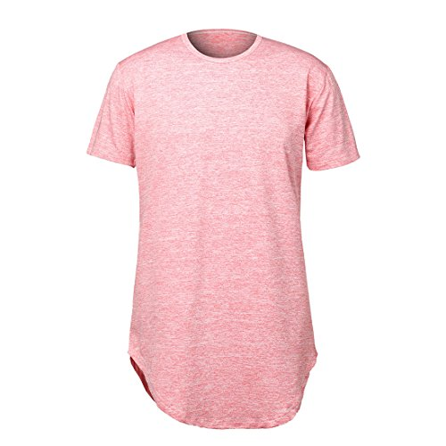er Hip Hop T Shirts Longline Elong Length Curved Bottom Streetwear Shirt Tee Cool Outfits (S, Pink) (Streetwear Clothing)