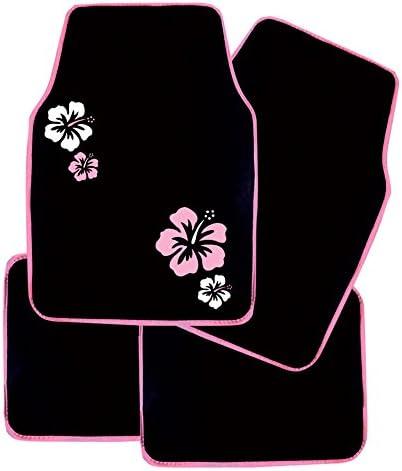 WOLTU AM7140 Voiture Tapis de Sol Set,Voiture Tapis UNI,Broderie Papillon,Protecteur 4 pi/èces Tapis de Voiture Universel Violet Noir Universel