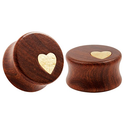 KUBOOZ Nature Red Sandalwood Wooden Ear Plugs Concise Style Heart Design Ear Pierced 22mm (Plug Design Ear)