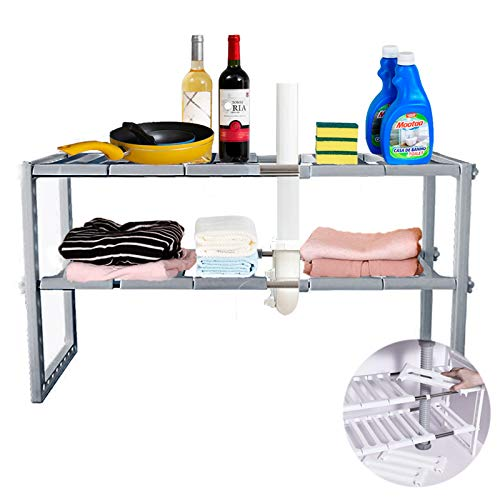 Tier Expandable Under Sink Organization Shelf, Under Sink Storage Rack Multi-functional Adjustable Storage Shelves Save Space Undersink For Bathroom Kitchen