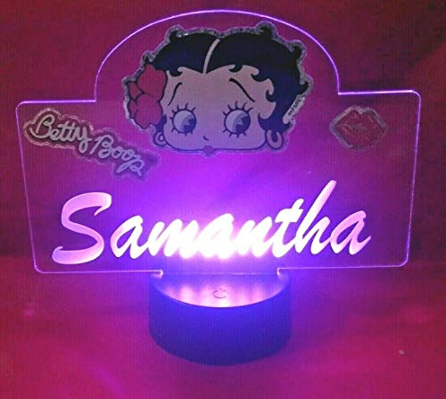 Betty Boop Light Up Lamp LED Personalized Betty Boop with Script Name Night Light Engraved Table Lamp, Our Newest Feature - It
