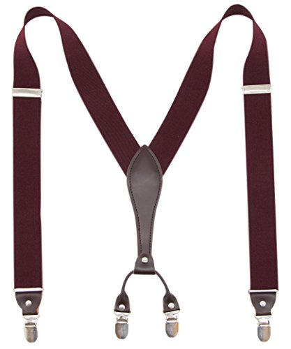 Bioterti Men's Y-Back Wide Suspenders  Sturdy Stylish & Easy To Match 10 Colors -