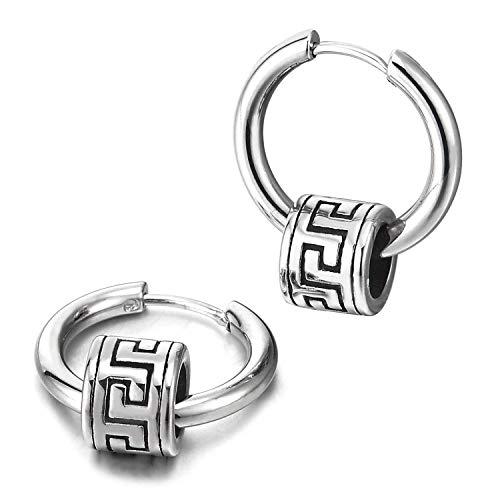 - Mens Womens Steel Circle Huggie Hinged Hoop Earrings with Vintage Greek Key Pattern Bead Charm