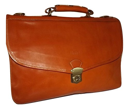 (I Medici of Florence Italian Leather Front Flap Triple Gusset Briefcase Cognac )