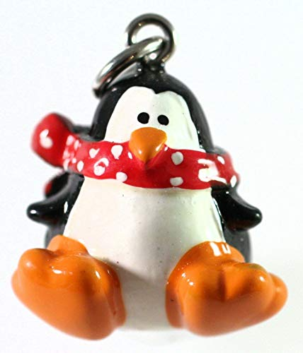 Pendant Jewelry Making for Bracelets and Chains 4 Adorable Hand Painted Resin Penguin with Scarf Charms 3 Dimensional