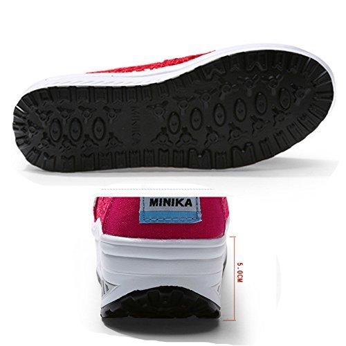 Fitness Verano de Malla Rocker Entrenadores de libre Transpirable mujer deporte al Ligero Zapatilla de aire cómodos Plataforma Rosa01 Zapatos Suelas OUw6qngg