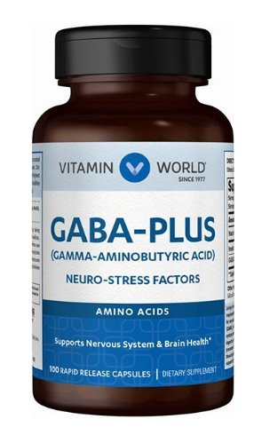 Vitamin World GABA-Plus Aminobutyric Acid, Neuro-Stress Factors 100 Rapid Release Capsules