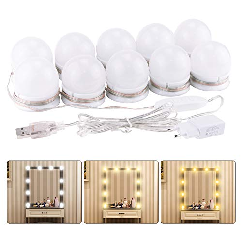 Hollywood Style Vanity Mirror Lights, Yatuela LED Makeup Mirror Lights Kit with 3 Colors Dimmable and 10 Level Brightness, Power Adapter, USB Charger Cable, Stickers, 10 Bulbs (Mirror Not Included)