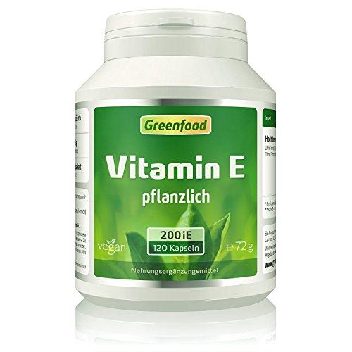Vitamin E, 200 iE, 120 Kapseln, vegan - enthält alpha-, beta- & gamma-Tocopherole, starkes Antioxidans, Anti-Aging-Faktor