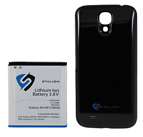 Galaxy S4 Extended Battery : Stalion Strength Extended Battery & Back Door Cover for Samsung Galaxy S4 [24-Month Warranty](Jet Black) Double Lifetime 5200mAh Battery with NFC Chip + Google Wallet Capable