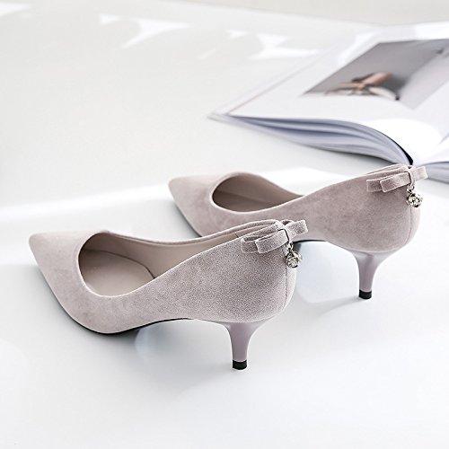 Zapatos tacones 36 Sandalias mujer Colgante Polvo zapatos de de altos Moda elegante Post Solo mujer púrpura 5cm 39 Zapatos Ajunr los Transpirable de Sharp Pajarita xwSYzInYqt