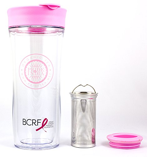 Portable Travel Tea Tumbler - Double Walled w/Removable Steel Infuser, Clear-Pink 14 Fluid Ounces by Pride Of India