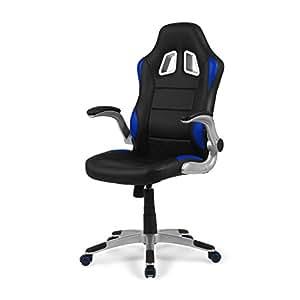 Due-home - Silla de Oficina Gaming Mugello, sillón Giratorio para Escritorio, Estudio o despacho, Color Azul, Medidas: 70x115x68 cm de Fondo