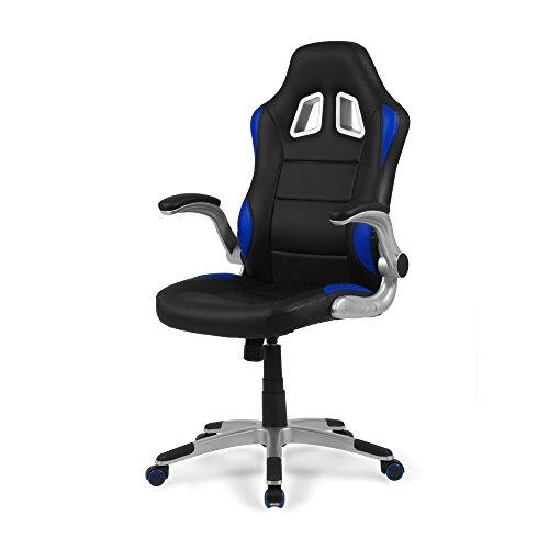 Due-Home - Silla de Oficina Gaming Mugello, sillon Giratorio para Escritorio, Estudio o despacho, Color Azul, Medidas: 70x115x68 cm de Fondo