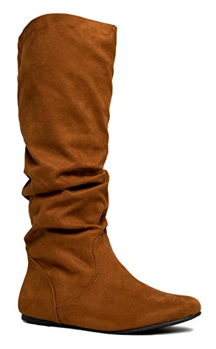 [Slouchy Knee High Boot – Women's Flat Riding Boot – Comfortable Vegan Leather Boot - Casual Everyday Walking] (Furry Boots Cheap)